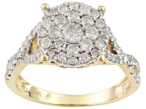 Diamond 10k Yellow Gold Cluster Ring .90ctw