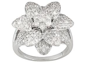 Diamond 2.00ctw Round 10k White Gold Flower Ring