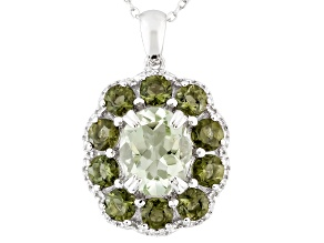 Green Prasiolite Sterling Silver Pendant With Chain 4.86ctw