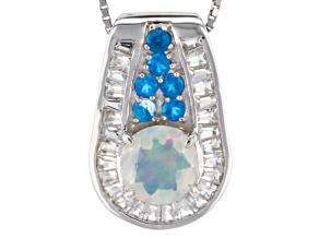 Multi Color Ethiopian Opal Silver Pendant With Chain 1.07ctw