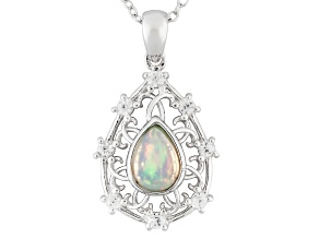 Ethiopian Opal Sterling Silver Pendant With Chain .67ctw
