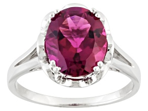 Red Lab Created Bixbite Sterling Silver Solitaire Ring 2.59ct
