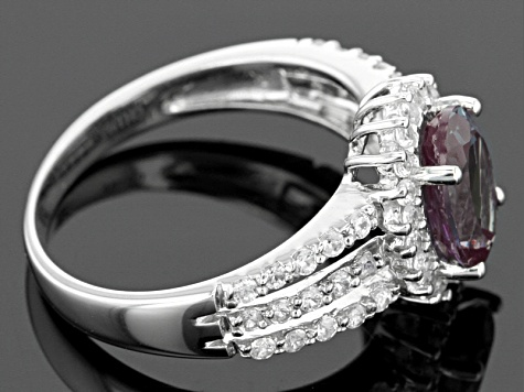 Lab Created Color Change Alexandrite Sterling Silver Ring 2.26ctw