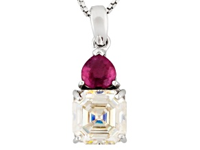 Strontium Titanate and Mahaleo Ruby Sterling Silver Pendant With Chain. 3.82ctw