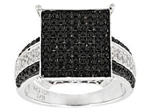 Black Spinel Sterling Silver Ring .77ctw