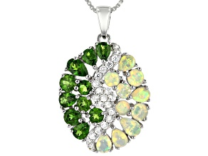 Green Chrome Diopside Rhodium Over Silver Pendant With Chain 2.58ctw