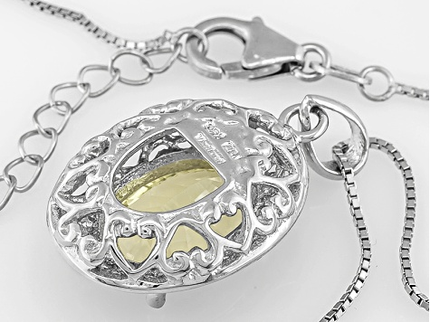 Canary Yellow Quartz Sterling Silver Pendant With Chain 4.25ct