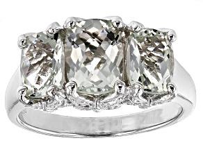 Green Prasiolite Sterling Silver 3-Stone Ring 3.40ctw