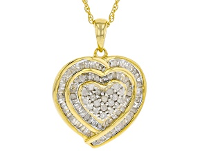 Engild™ White Diamond 14k Yellow Gold Over S/S Pendant With Chain 1.00ctw