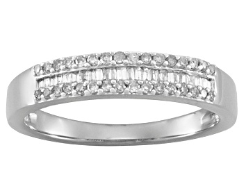 Picture of White Diamond Rhodium Over Sterling Silver Band Ring 0.25ctw