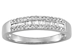 White Diamond Rhodium Over Sterling Silver Band Ring 0.25ctw