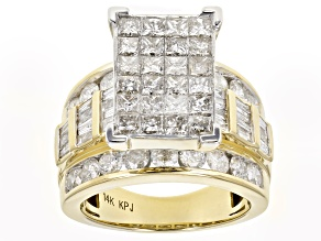 Diamond 4.05ctw Princess Cut & Round & Baguette 14k Yellow Gold Ring