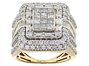 Diamond 3.00ctw Princess Cut & Round & Baguette 10k Yellow Gold Ring