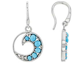 Blue Sleeping Beauty Turquoise Rhodium Over Sterling Silver Earrings 0.06ctw