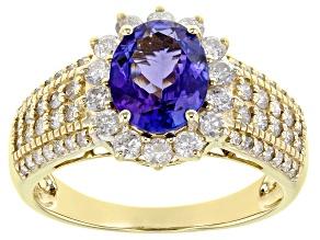 Blue Tanzanite 14K Yellow Gold Ring. 2.54ctw
