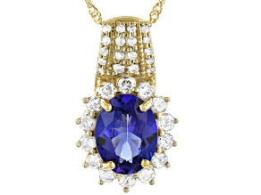 Blue Tanzanite 14k Yellow Gold Pendant With Chain 2.28ctw