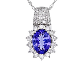 Blue Oval Tanzanite  Rhodium Over 14k White Gold Pendant With Chain 2.28ctw