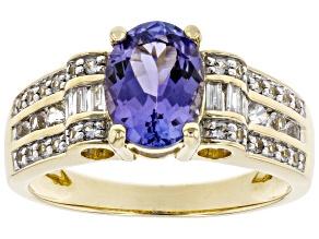 Blue Tanzanite 10K Yellow Gold Ring 1.45ctw