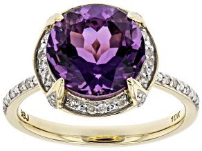 Purple Amethyst 10K Yellow Gold Ring 2.10ctw
