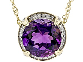 Purple Amethyst 10k Yellow Gold Pendant With Chain 2.10ctw