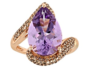 Lavender Amethyst 10K Rose Gold Ring 4.53ctw