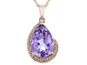 Lavender Amethyst 10K Rose Gold Pendant With Chain 4.45ctw