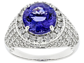 Blue Tanzanite 14k White Gold Ring 4.96ctw