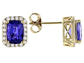 Blue Tanzanite 14K Yellow Gold Earrings 2.90ctw