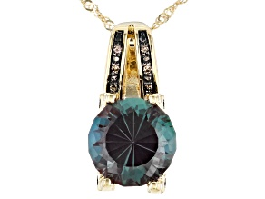 Blue Lab Created Alexandrite 10K Yellow Gold Pendant With Chain 3.23ctw