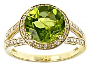 Green Peridot 10K Yellow Gold Ring 3.37ctw