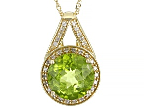 Green Peridot 10K Yellow Gold Pendant With Chain 3.30ctw