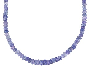 Blue Tanzanite  Beaded 14k Yellow Gold Necklace