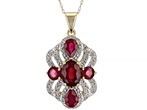 Red Mahaleo(R) Ruby 10K Yellow Gold Pendant With Chain 3.21ctw