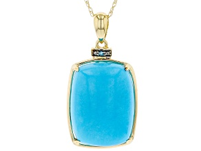 Blue Turquoise 14k Yellow Gold Pendant With Chain 0.01ct