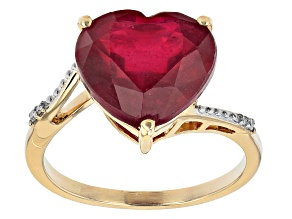Red Mahaleo® Ruby 10k Yellow Gold Ring 8.82ctw
