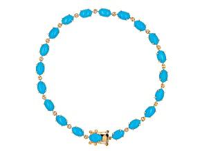 Blue Turquoise 14K Yellow Gold Bracelet