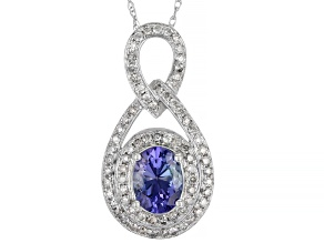 Blue Tanzanite Rhodium Over 14K White Gold Pendant With Chain 1.41ctw
