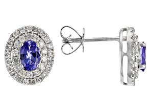 Blue Tanzanite Rhodium Over 14K White Gold Earrings 1.42ctw