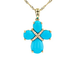 Blue Turquoise 10K Yellow Gold Pendant With Chain 0.03ctw