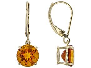 Orange Madeira Citrine 10k Yellow Gold Solitaire Dangle Earrings 3.15ctw