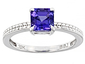 Blue Tanzanite Rhodium Over 10K White Gold Solitaire Ring 1.00ct