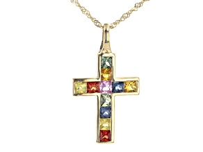 Multi-Sapphire 10K Yellow Gold Cross Pendant With Chain 1.22ctw