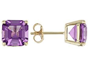 Lavender Amethyst 10K Yellow Gold Stud Earrings 3.67ctw