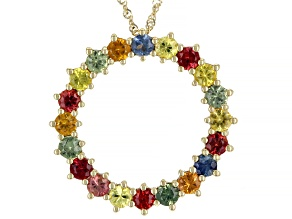 Multi-Color Sapphire 10K Yellow Gold Pendant With Chain 2.55ctw