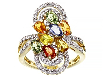 Picture of Multi-Color Sapphire 10K Yellow Gold Ring 2.20ctw