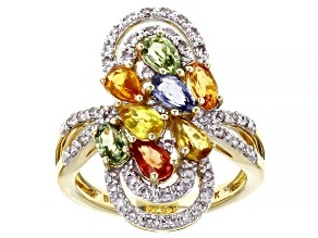 Multi-Color Sapphire 10K Yellow Gold Ring 2.20ctw
