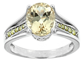 Yellow Brazilian Beryl Sterling Silver Ring 2.00ctw.