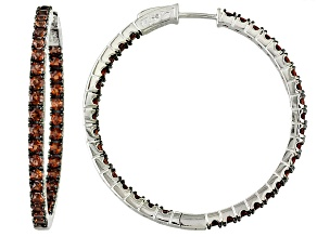 Red Garnet Sterling Silver Hoop Earrings 5.36ctw.