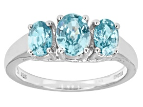 Blue Cambodian Zircon Sterling Silver 3-Stone Ring 2.21ctw.