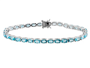Blue Zircon Rhodium Over Sterling Silver Tennis Bracelet 20.97ctw
